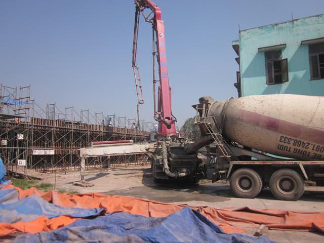 Cập nhật tiến độ xây dựng khu KTX nam - Trường dạy nghề Ninh Bình tháng 5/2014