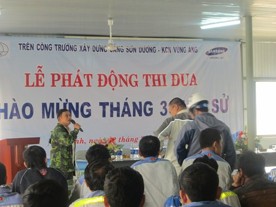 Lễ phát động thi đua chào mừng Tháng 3 lịch sử của Cán bộ -     Công nhân công ty Nibelc trên công trường xây dựng cảng Sơn Dương - Khu CN Vũng Áng